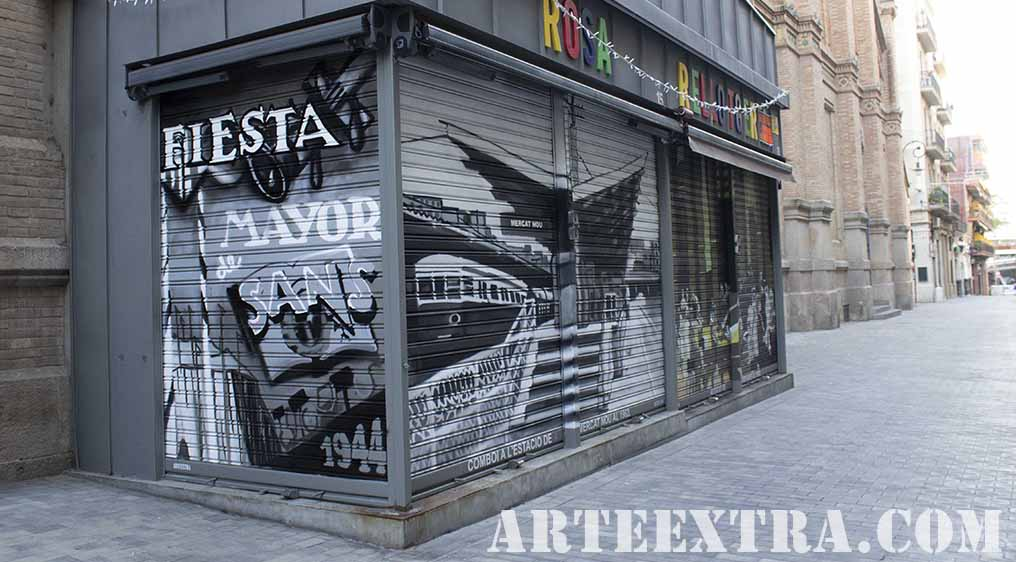 Arte urbano persianas decoradas ARTEEXTRA en Barcelona