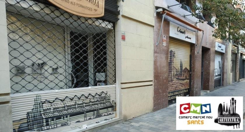 Persianas metálicas decoradas por ArteExtra con graffiti en Sants Barcelona