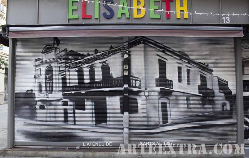 Ateneu de Sants en persiana graffiti por ARTEEXTRA