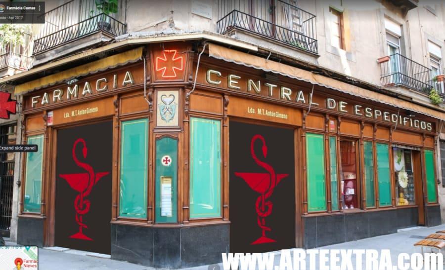 Boceto decoración graffiti persiana de farmacia 1