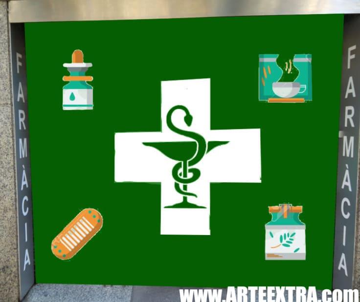 Boceto decoración graffiti persiana de farmacia 6
