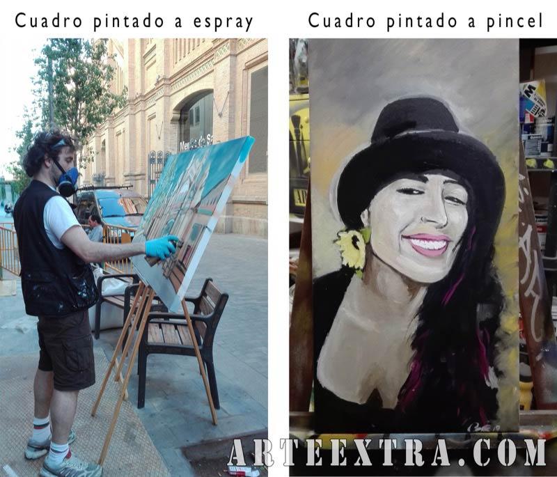 Cuadro artístico personalizado spray pincel acrílico Evento en Sants - ArteExtra Barcelona