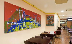 Cuadro persoalizado para interior restaurante con skyline Barcelona en lienzo pintura acrílica ArteExtra