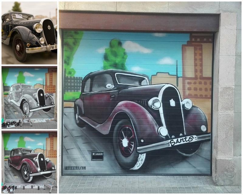 Decoración puerta garaje con coche americano retro en Barcelona