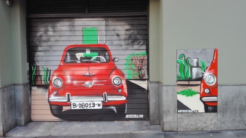 Decoración graffiti SEAT 600 en Barcelona por ArteExtra