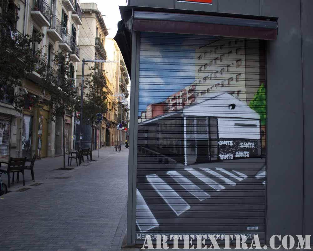 Decoracion graffiti color mercado provisional de Sants en Barcelona por ARTEEXTRA
