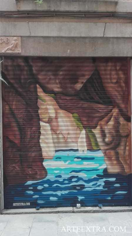 Decoración graffiti persiana taller escultor Barcelona - ArteExtra 2019