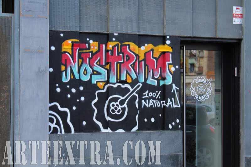 Decoración graffiti profesional exterior Nostrum Almogàvers Barcelona