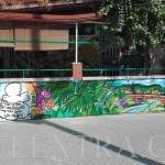 Decoración mural profesional en graffiti muro exterior Peña Bética Rubí - ArteExtra