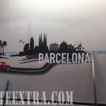 Decoración profesional mural skyline Barcelona restaurante en Barcelona por ArteExtra