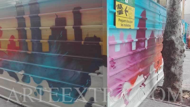 Decoración valla metálica protección obra AVE Barcelona - 1 - ArteExtra