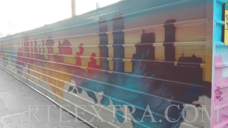 Decoración valla metálica protección obra AVE Barcelona - 2 - ArteExtra