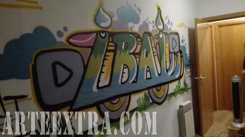 Detalle mural personalizado letras graffiti nombre niño Ibai en Cornellà 2017