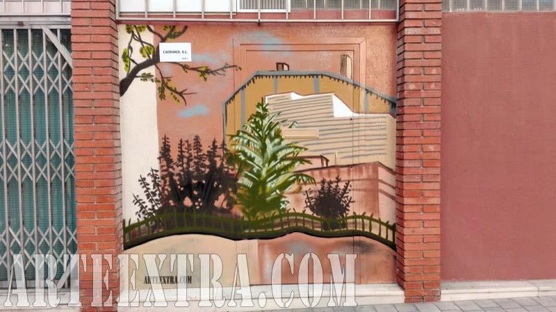 Detalle pared mural graffiti de lianas en Pl Lesseps Gràcia - Oriol Capella - ArteExtra 2017