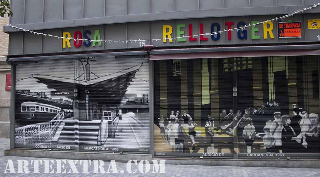 Doble persiana metalica Mercat de Sant decorada graffiti por ARTEEXTRA