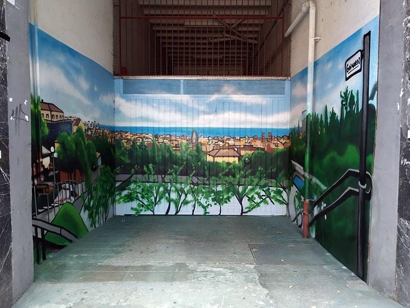 Entrada parking decorada profesional con graffiti en Barcelona