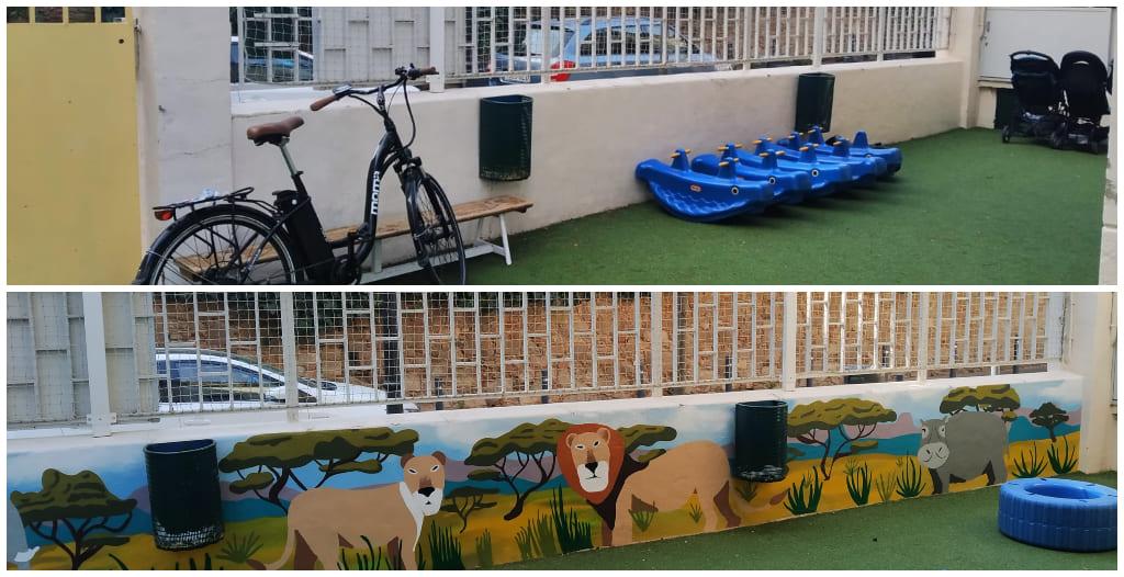 Graffiti profesional decorativo en escuela de Barcelona por ARTEEXTRA