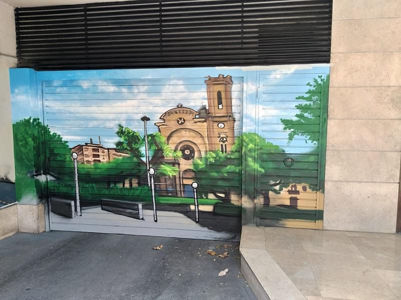 Graffiti profesional entrada parking comuntario Sant Andreu Barcelona por ArteExtra