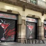 Persianas decoradas en el centro de barcelona