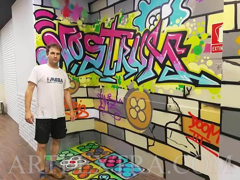 Mural en interior local Nostrum Eixample Barcelona - ArteExtra