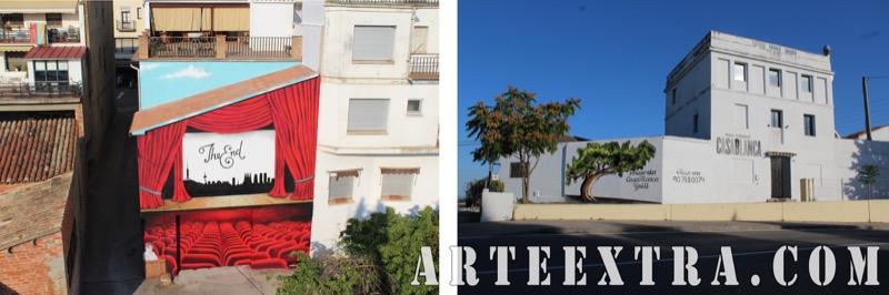 Mural graffiti fachada grande exterior Cine Oliana y Restaurant Terrassa - ArteExtra Barcelona