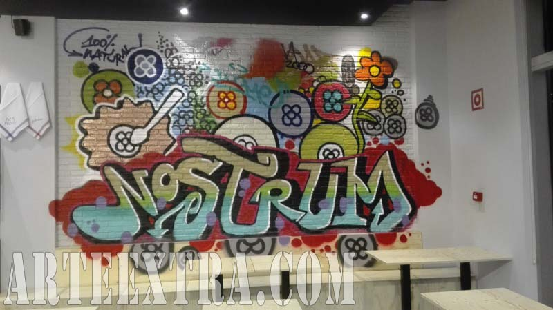 Mural graffiti interior local restaurante Nostrum - ArteExtra 2017