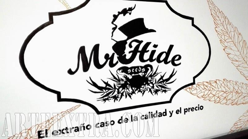 Mural graffiti proyectado - Detalle logo Mr Hide Barcelona - ArteExtra 2018