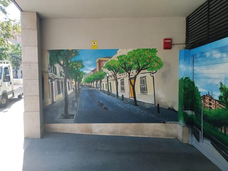 Mural pintado entrada parking comuntario Sant Andreu Barcelona