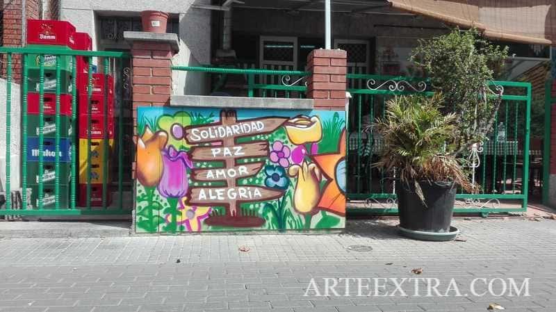 Otro detalle mural graffiti Peña Bética Rubí - ArteExtra 2019