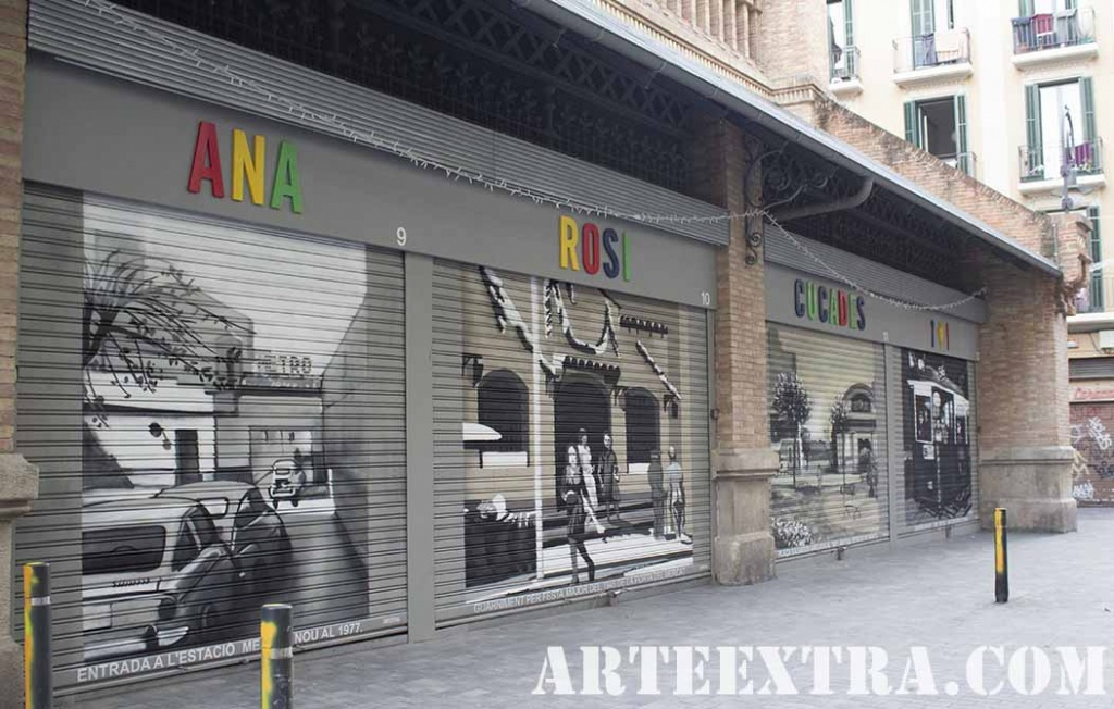 PR Persianas Mercat de Sants decoradas graffiti por ARTEEXTRA