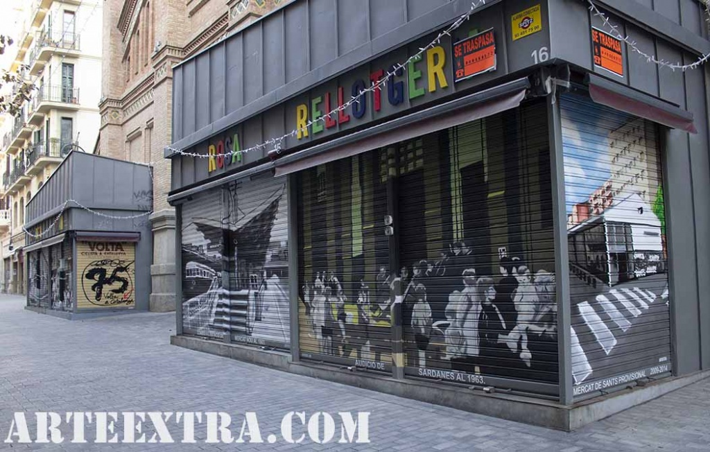 PR Vista general persianas decoradas graffiti por ARTEEXTRA en Mercat de Sants