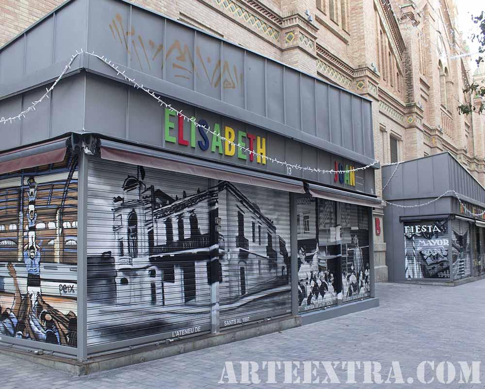 PR Vista general persianas graffiti en Mercat de Sants por ARTEEXTRA