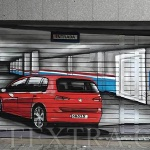 Parking Volkswagen  Golf entrada decorada en graffiti profesional Barcelona - ArteExtra