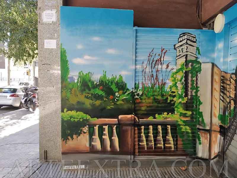 Decoración profesional parking graffiti puente de calle Marina en Barcelona - ArteExtra