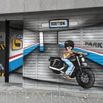 Decoración profesional graffiti en parking motos y coches de Barcelona - ArteExtra