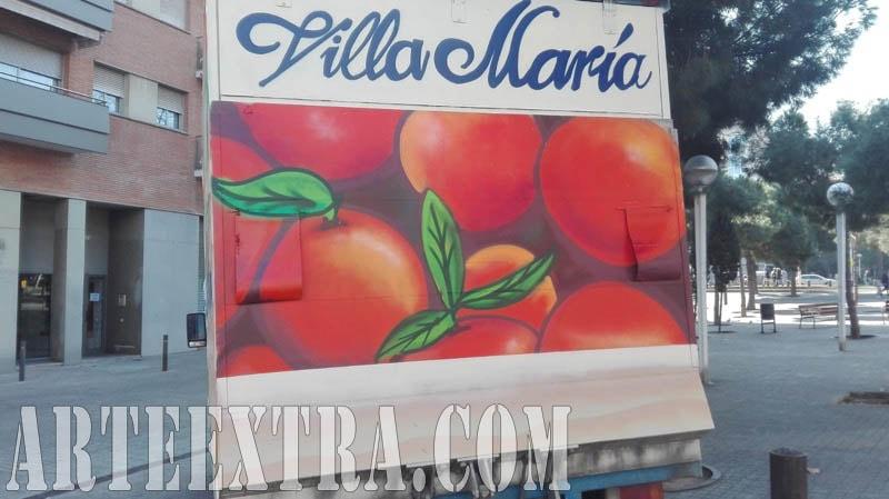Parte posterior camión rotulado Fruits Villa María en graffiti en Barcelona por ArteExtra