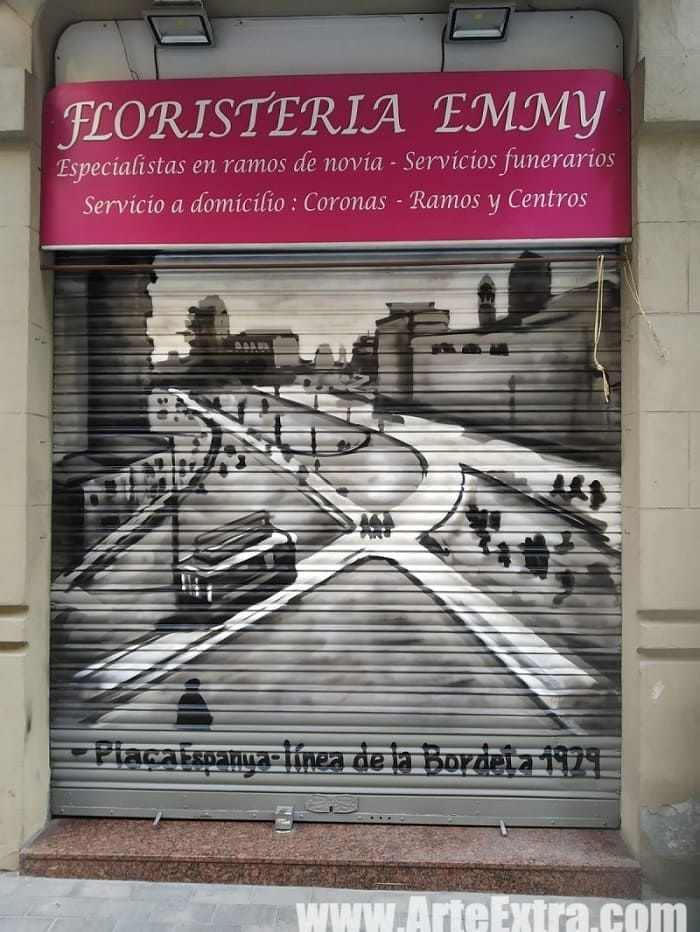 Persiana Floristería Emmy por ArteExtra en Mercat Sants Barcelona