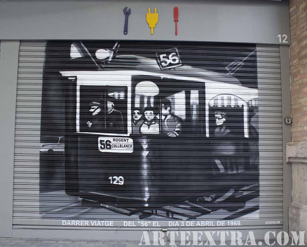Persiana decorada en graffiti Tramvia en Sants por ARTEEXTRA