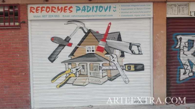 Persiana decorada graffiti comercio reformas Barcelona - ArteExtra 2019
