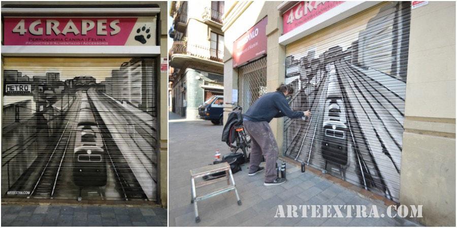 Persiana graffiti 4 Grapes Sants Barcelona ArteExtra