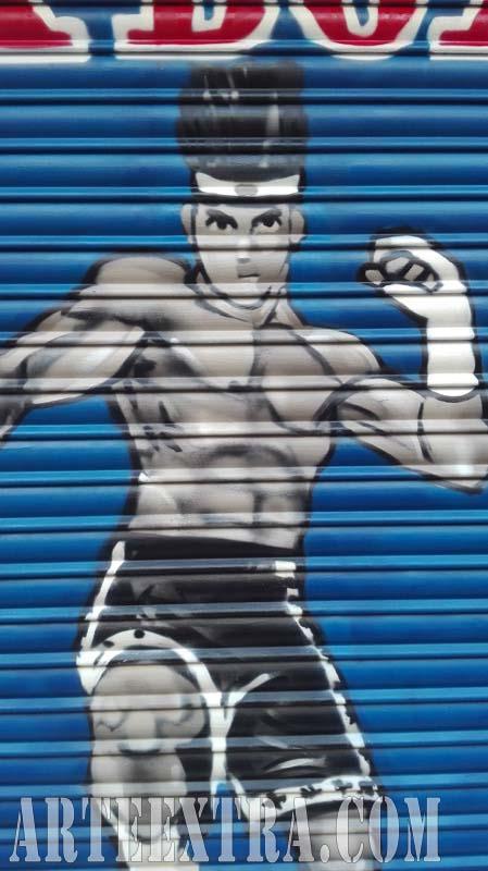 Persiana graffiti Escuela Kickboxing Barcelona 2017
