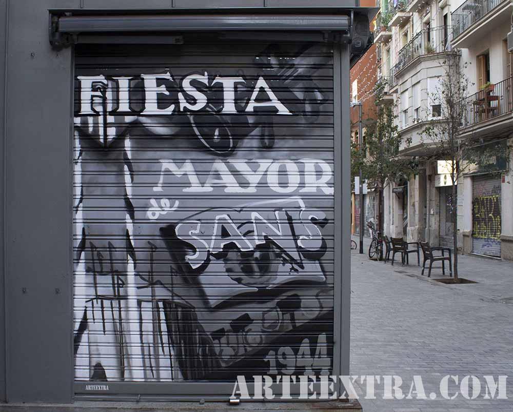 Persiana graffiti antiguo cartel Fiesta Mayor Sants en 1944 por ARTEEXTRA