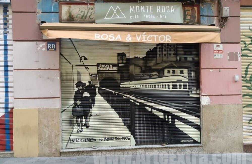 Persiana metálica graffiti Cafe Bar Monte Rosa por ArteExtra en Barcelona