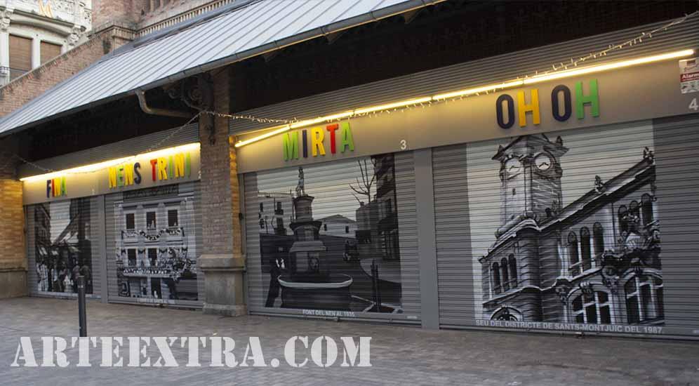Persianas decoradas graffiti 1 a 4 en Mercat de Sants Barcelona por ARTEEXTRA 2