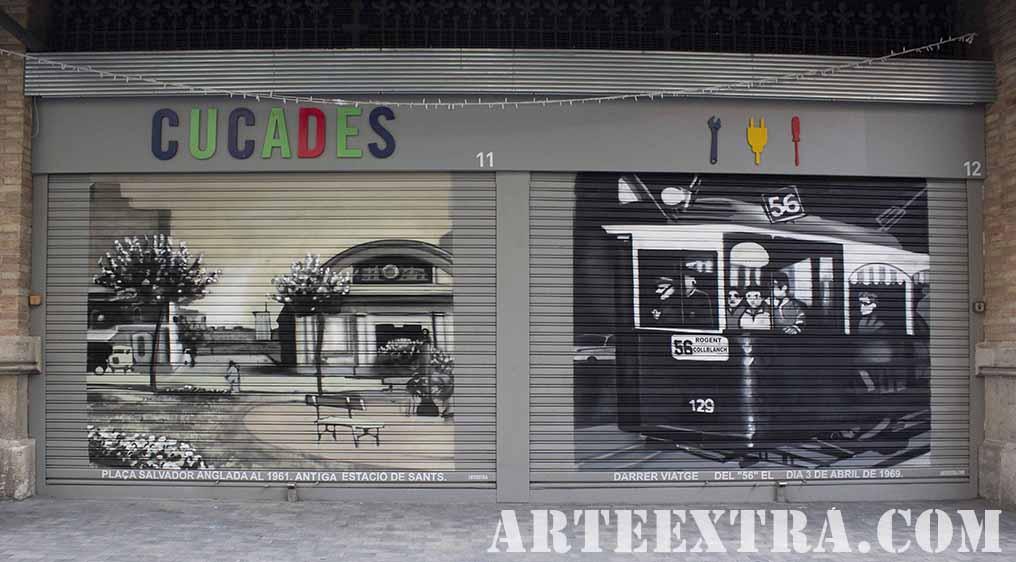 Persianas metalicas decoradas en Sants por ARTEEXTRA en graffiti