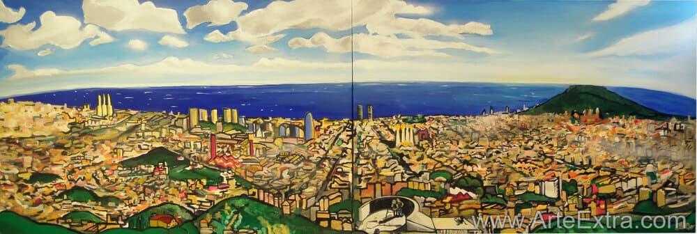 Doble lienzo en grandes dimensiones con vista skyline Barcelona por Javier Cera ArteExtra