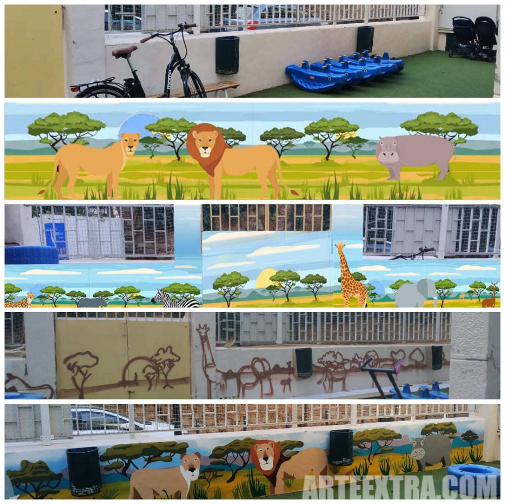 Proceso trabajo ARTEEXTRA para graffiti escuela en Barcelona