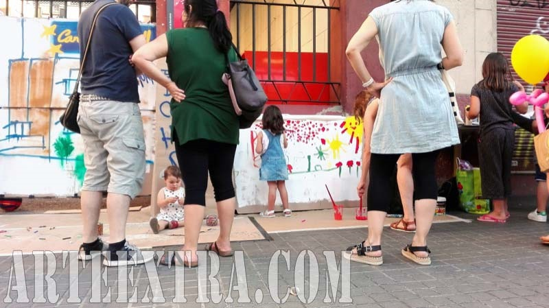 Taller graffiti street art en Mercat Horta Barcelona - Detalle pared calle - ArteExtra 2017