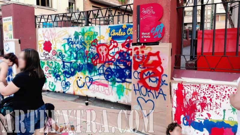 Taller graffiti street art en Mercat Horta Barcelona - Puerta mercado - ArteExtra 2017