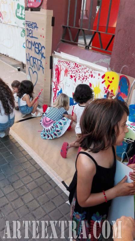 Taller graffiti street art en Mercat Horta Barcelona - Taller infantil - ArteExtra 2017